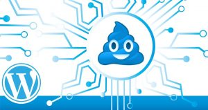 WordPress logo merged with Poopy logo.